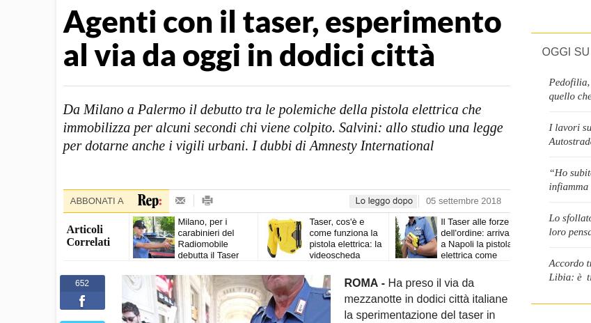 In Italia le forze dell'ordine sperimentano il Taser. Che però è il marchio di un'azienda