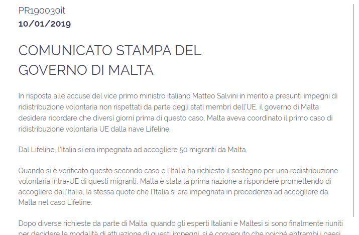 Sea Watch 3, il Governo di Malta rilascia un comunicato stampa in italiano