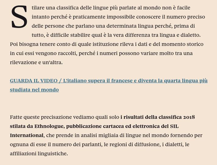 Ethnologue non pubblica alcuna classifica delle lingue più studiate